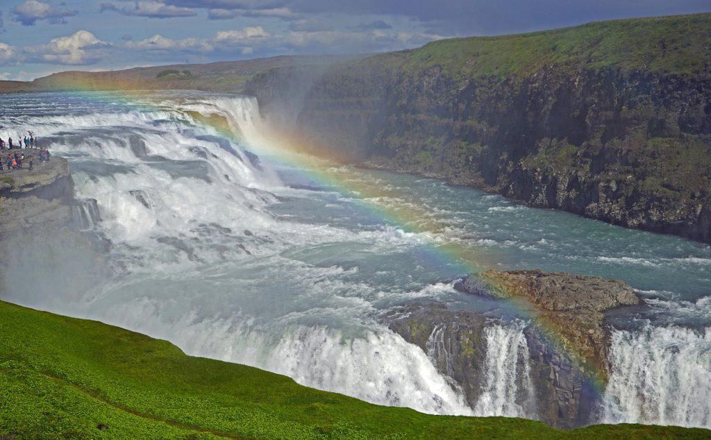 les chutes de Gullfoss et l'arc en ciel