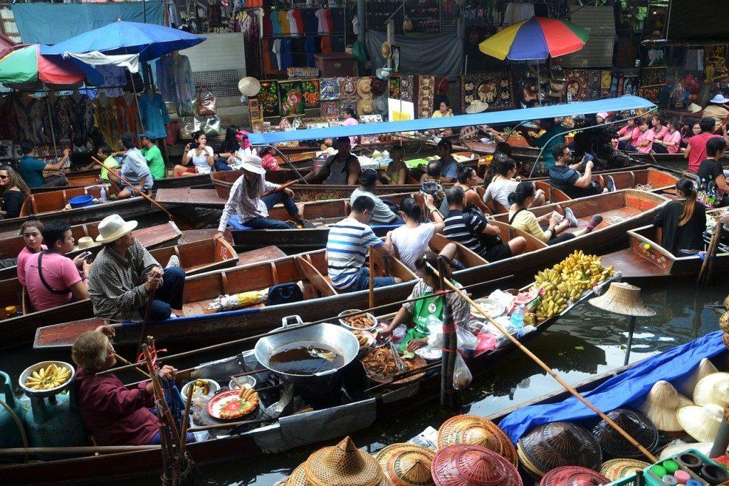 Marché flottant bangkok thailande